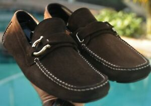 Salvatore Ferragamo Man's brown suede side buckle Drivers Loafer Sz 8.5EE