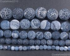 Matte Frosted Black Fire Crackle Agate Gemstones Round Beads 6mm 8mm 10mm 15""