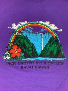 Vintage Jack Harter Helicopters Hawaii T Shirt Men's 2XL Purple Single Stitch