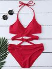 ZAFUL Padded Halter Cut Out Wrap Bikini Set Two Piece Swimwear S, M, L for Women