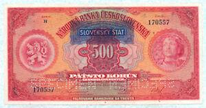 SLOVAKIA 500 Korun 1939 P2s XF/AU Specimen