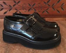 Boy's TOMMY HILFIGER Black LEATHER Loafer KILTIE TASSEL Wingtip Dress SHOES sz 9