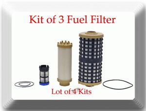 (Lot of 4 Kits) Kit of 3  Fuel Filter Fits Detroit Diesel  DD13 DD15 DD16