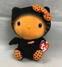 "Hello Kitty Halloween Bat Beanie Baby Black Orange 6"" Ty Sanrio Plush Bat w/Tag."