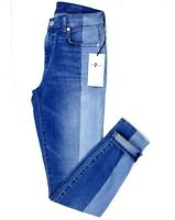 $269 NWT 7 Seven For All Mankind Women's Ankle Super Skinny Jeans Blue Size 26