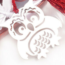 Creative Alloy Hollow Out Owl Tassel Bookmarks With Ribbon Box Craft Kids Gift