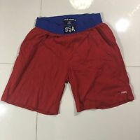 RARE Vintage POLO Sport SPELL OUT USA FLAG Red Shorts w/ Pockets Mens Medium