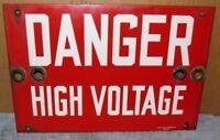Vtg American Valve DANGER HIGH VOLTAGE Industrial Sign 15x10 Steampunk S687