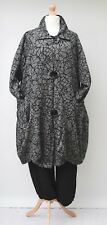 LAGENLOOK*PLUS SIZE*COLLARED BALLOON LONG JACKET**GREY/BLACK**BUST UP TO 54""