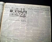 BABE RUTH Agrees to Join BOSTON BRAVES Baseball Team in 1935 Old NYC Newspaper