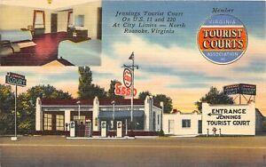 H48/ Roanoke Virginia Postcard Linen 2View Esso Gast Station Tourist Courts