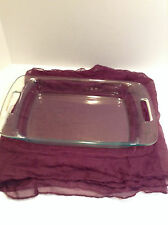 "PYREX CLEAR BAKING DISH WITH OPEN HANDLES  9"" X13"" 3 QT C233 free shipping"