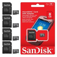 8GB Micro SD Microsd SDHC TF Flash Memory Card 8G Sandisk Lot 4