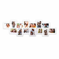 Collage Galerie Fotorahmen Bilderrahmen quer 35x117cm14 Fotos 10x15cm in weiss