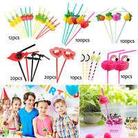 10/12/20/100pcs Fruit Cocktail Paper Straw Umbrella Drinking Straw Party Decor