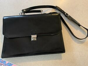 Vintage TOTO  Black Patent Leather Briefcase Purse Handbag Made In Italy