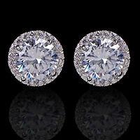 High New Sanwood White Gold GP Crystal Diamond Zircon Earrings Ear Stud Jewelry
