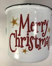 Swan Creek Merry Christmas Enamelware Mug 8oz Spiced Orange & Cinnamon