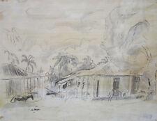 """JULES PASCIN Signed Original Drawing - """"Cuba, 1916"""""""