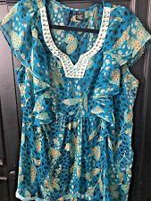 Women's Plus New Directions Belk Blue Flutter Sleeve Embellished Neck Blouse, 1X