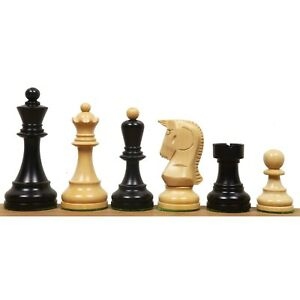 "1950 Reproduced Bobby Fischer 3.7"" Dubrovnik Chess Pieces Set Ebonised Boxwood"