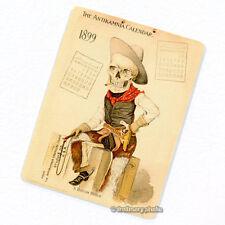 Antikamnia 1899 Calendar #6 Deco Magnet, Antique Illustration Skeleton Fridge