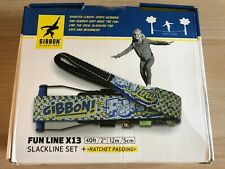 "Gibbon Slackline Set Ratchet Padding 40ft 2"" Fun Line X13"