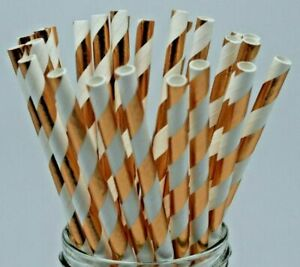 Rose gold paper straws foil stripe wedding birthday party UK Quantity x 25