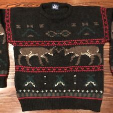 Woolrich Mens L Wool Sweater Jumper Deer Elk Charcoal Thick Knit Holiday Hunter