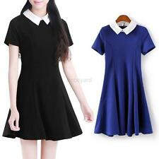 Summer Women Fashion Pleated Peter Pan Contrast Collar Baby Skirt Mini Dress