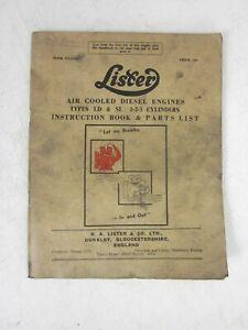 Vintage Lister Diesel engine LD & SL instruction manual/handbook & parts list