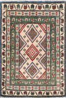 Geometric IVORY/ GREEN Super Kazak Oriental Area Rug Wool Hand-Knotted 2x3 ft