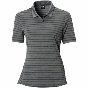 Oakley Womens Enjoy Short Sleeve Polo Heather Grey striped Large NWT! MSRP $50.
