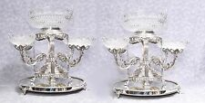 Pair Sheffield Silver Plate Epergnes Cut Glass Dishes B