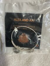 ALEX AND ANI LOTUS PEACE PETALS GOLD Charm Bangle Bracelet NWT beauty