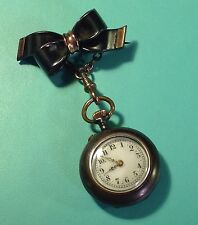 LADY'S ANTIQUE VICTORIAN UNIQUE STEEL & ROSE GOLD PENDANT WATCH & BROOCH