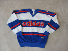 VINTAGE Adidas Sweater Size Adult Medium Blue Red Spell Out Trefoil Mens 90s *
