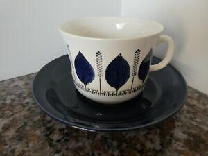 60s Vintage Cup Saucer Duo GROBLAD Blue