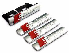 4X SLINE S LINE GRILL GRILLE REAR EMBLEM BADGE AUDI A4 A5 A6 A8 Q5 Q7 TT CHROME