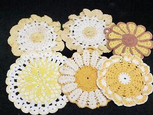 6 Vintage Potholder Hand Crocheted LOT Retro YELLOW 1940s Novelty Estate Find