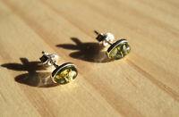 Boucles d'oreilles Cabochon Ambre vert Baltique et argent 925