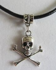 Skull and Crossbones With 20 inch Black Leather Cord Charm / Pendant Necklace