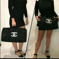 CHANEL Black Canvas Duffel Travel Weekender Bag VIP gift Promo Limited