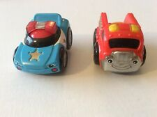 Pair of 2- FISHER-PRICE LITTLE ZOOMERS ROLLER BALL CARS Police and Fire