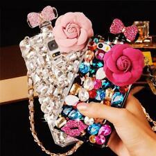 For Samsung S21 S20 S10 S9 Note20 10 9 Bling Diamond Flower Perfume Bottle Case