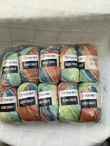 Yarn Art Jeans Crazy 10 X 50g 55% Cotton Light Dk Knitting Wool/Yarn Shade 8209