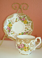 Royal Albert Crown China England Lovelace cup and saucer gold trim Hampton style