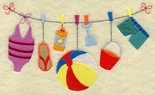 BEACH TIME FUN ON A LINE EMBROIDERED SET 2 BATHROOM HAND TOWELS BY LAURA