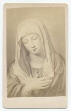 ANTIQUE CDV PHOTO MADONNA  ETCHING OF PAINTING BY GIOVANNI SASSOFERATO. ITALY.