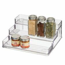 mDesign Plastic Spice and Food 3 Tier Kitchen Shelf Storage Organizer - Clear